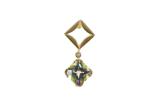 14K Cushion Mystic Topaz Diamond Square Drop Yellow Gold Pendant