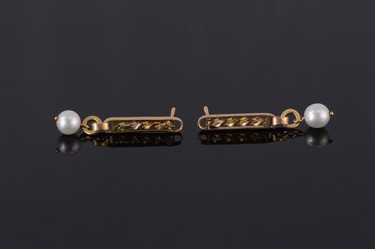 14K Dangle Twist Rope Bar Pearl Beaded Yellow Gold EarRings