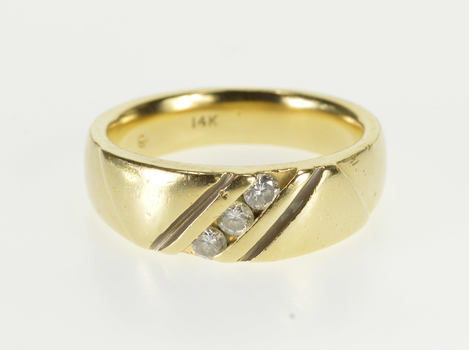 14K Diagonal Channel Inset Diamond Wedding Band Yellow Gold Ring, Size 9