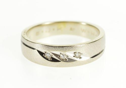 14K Diagonal Grooved Diamond Textured Wedding Band White Gold Ring, Size 6.5