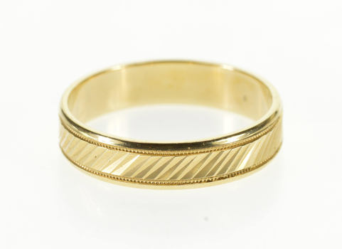 14K Diagonal Grooved Dot Patterned Wedding Band Yellow Gold Ring, Size 9.75