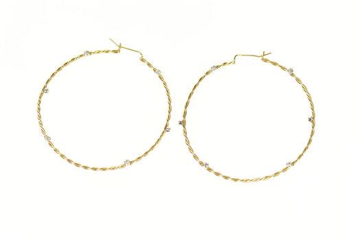 14K Diamond Accent Twist Design 57.8mm Hoop Yellow Gold Earrings