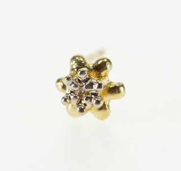 14K Diamond Buttercup Inset Solitaire Stud Single Yellow Gold EarRing