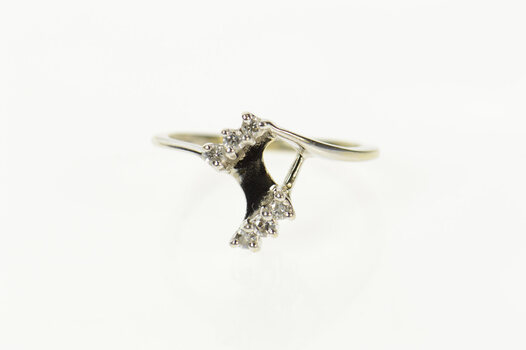 14K Diamond Bypass Marquise Wrap Wedding Band White Gold Ring, Size 5