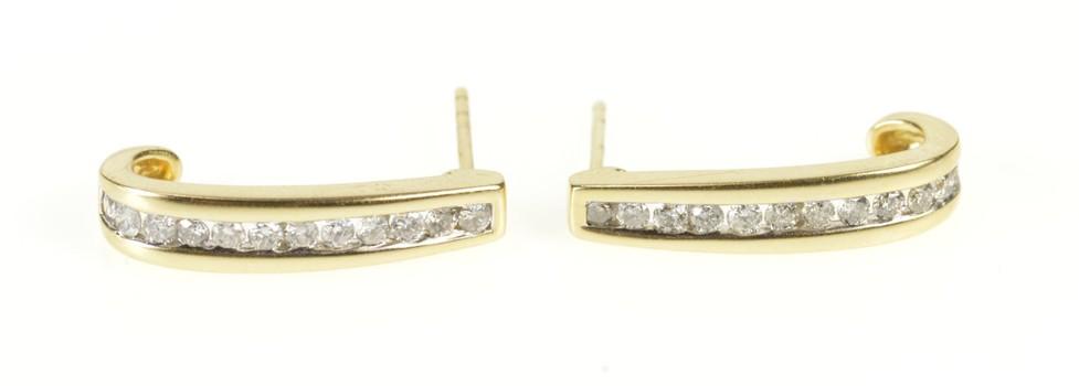 14K Diamond Channel Curved Bar Semi Hoop Yellow Gold Earrings