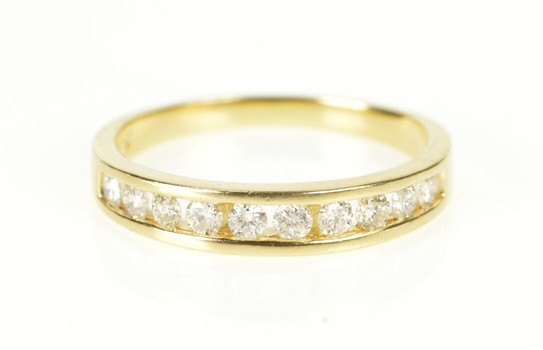 14K Diamond Channel Inset Classic Wedding Band Yellow Gold Ring, Size 5