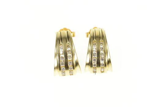 14K Diamond Channel Inset Curved Semi Hoop Yellow Gold Earrings