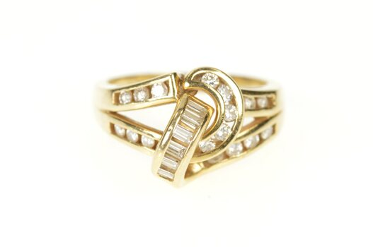14K Diamond Channel Knot Loop Statement Yellow Gold Ring, Size 6