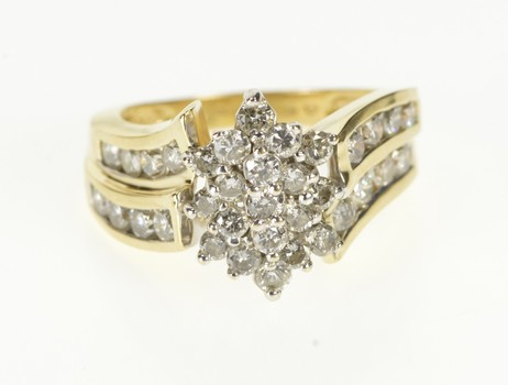 14K Diamond Cluster Channel Accent Fashion Yellow Gold Ring, Size 7.25