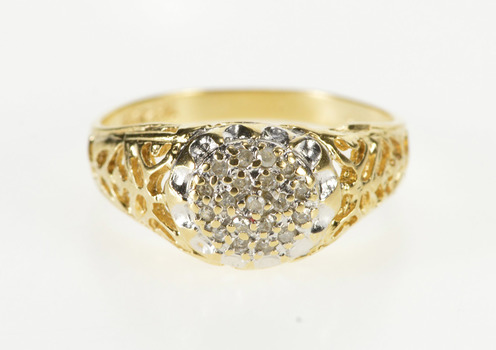 14K Diamond Cluster Scroll Trim Swirl Statement Yellow Gold Ring, Size 7