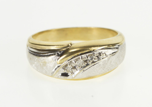 14K Diamond Curved Groove Two Tone Textured Band Yellow Gold Ring, Size 9.75