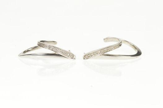 14K Diamond Curved Wavy Semi Hoop Dangle White Gold Earrings