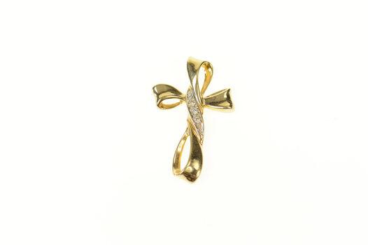 14K Diamond Curvy Loop Cross Christian Faith Yellow Gold Pendant