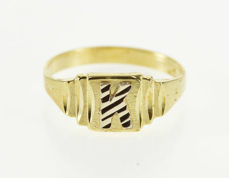 14K Diamond Cut K Letter Initial Monogram Grooved Yellow Gold Ring, Size 3.25