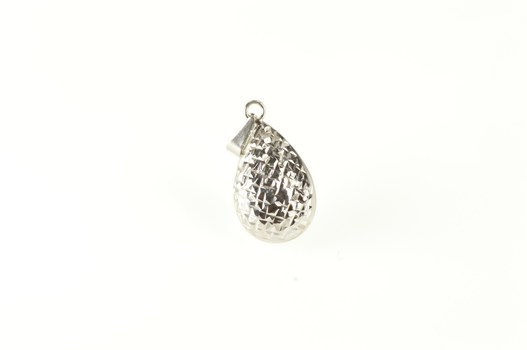 14K Diamond Cut Pattern Puffy Tear Drop White Gold Pendant