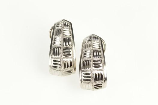 14K Diamond Cut Woven Pattern French Clip White Gold Earrings