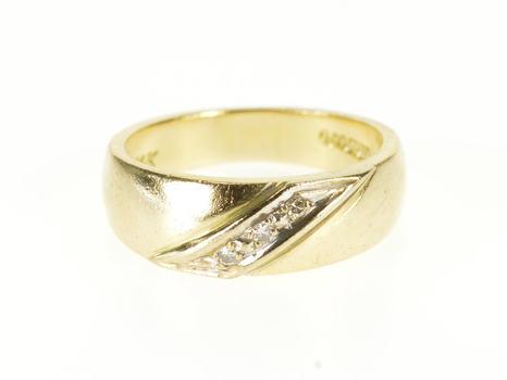 14K Diamond Diagonal Raised Inset Wedding Band Yellow Gold Ring, Size 4.25