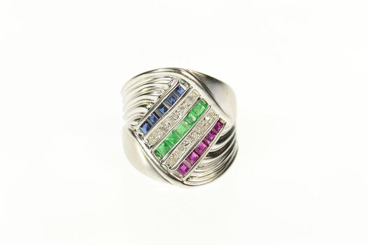 14K Diamond Emerald Ruby Sapphire Wavy White Gold Ring, Size 8