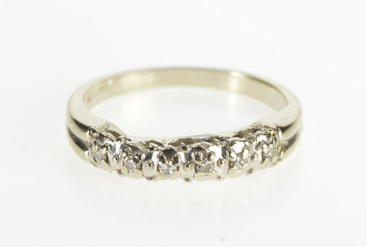14K Diamond Encrusted Classic Wedding Band White Gold Ring, Size 6.25