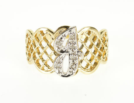14K Diamond Encrusted Cursive J Scalloped Lattice Yellow Gold Ring, Size 7.75