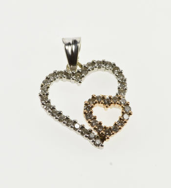 14K Diamond Encrusted Doubled Overlapping Heart White Gold Charm/Pendant