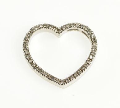 14K Diamond Encrusted Heart Romantic Love Gift White Gold Pendant