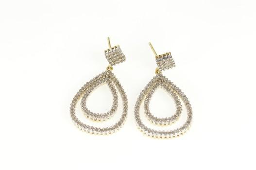 14K Diamond Encrusted Tiered Drop Dangle Yellow Gold Earrings