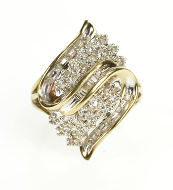 14K Diamond Encrusted Wavy Cluster Fashion Yellow Gold Ring, Size 4.75