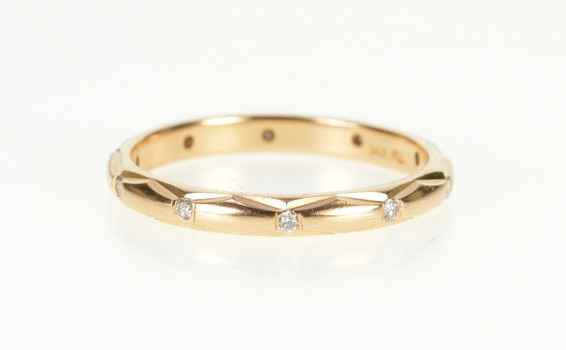 14K Diamond Eternity Anniversary Wedding Band Rose Gold Ring, Size 7