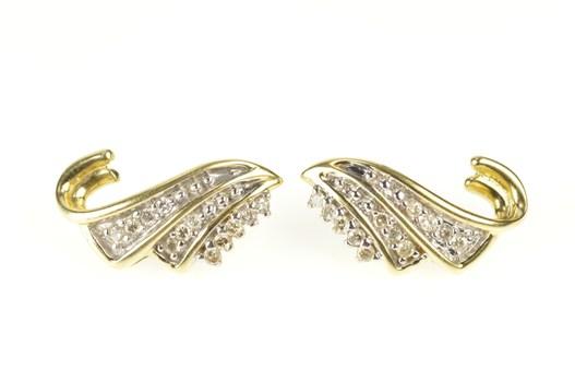 14K Diamond Fanned Wave Swirl Statement Yellow Gold Earrings
