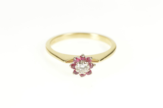 14K Diamond Floral Ruby Halo Retro Engagement Yellow Gold Ring, Size 6.25