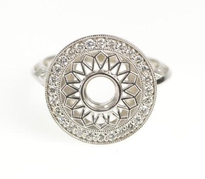 14K Diamond Flower Mandala Engagement Setting White Gold Ring, Size 6.5