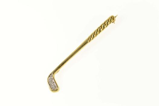 14K Diamond Golf Club Putter Golfer Yellow Gold Pin/Brooch