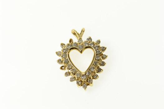 14K Diamond Halo Classic Heart Love Symbol Yellow Gold Pendant