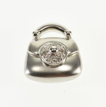 14K Diamond Inset Articulated Purse Handbag White Gold Pendant