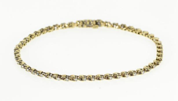 "14K Diamond Inset Classic Simple Tennis Yellow Gold Bracelet 7.5"""