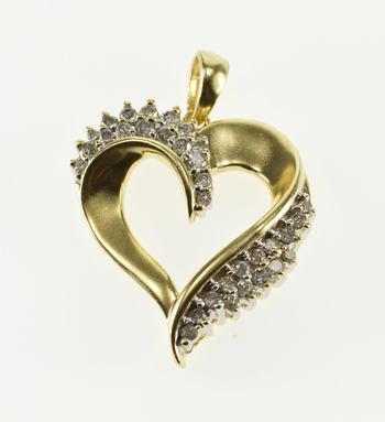 14K Diamond Inset Cluster Wavy Design Heart Love Symbol Yellow Gold Pendant