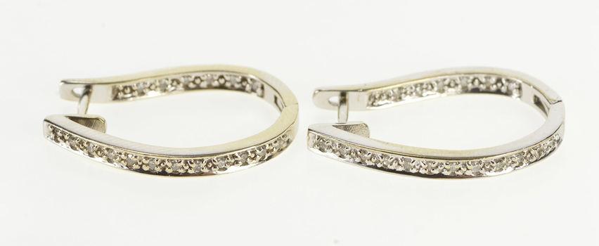14K Diamond Inset Curvy Oval Classic Fashion Hoop White Gold Earrings