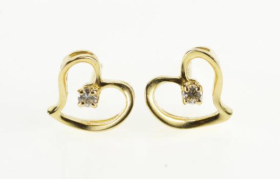 14K Diamond Inset Curvy Wavy Heart Cut Out Yellow Gold Earrings
