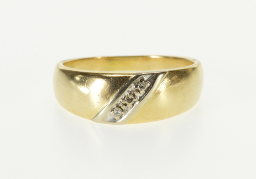 14K Diamond Inset Diagonal Grooved Rounded Band Yellow Gold Ring, Size 9.25