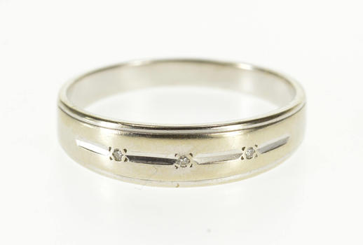 14K Diamond Inset Grooved Men's Wedding Band White Gold Ring, Size 11.25