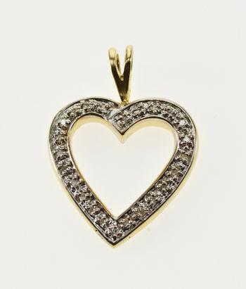 14k Diamond Inset Heart Cut Out Love Symbol Yellow Gold Pendant