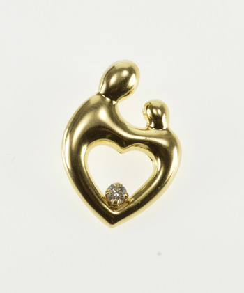 14K Diamond Inset Parent Guardian Child Heart Yellow Gold Pendant