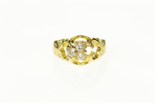 14K Diamond Inset Retro Cluster Statement Yellow Gold Ring, Size 2.75