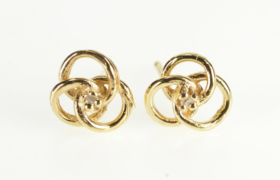 14K Diamond Inset Triquetra Interlock Circles Stud Yellow Gold Earrings