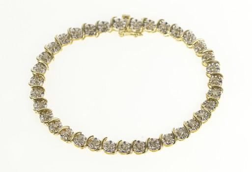 "14K Diamond Inset Two Tone Wave Tennis Yellow Gold Bracelet 7"""