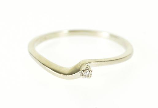 14K Diamond Inset Wavy Curvy Freeform Bypass White Gold Ring, Size 7.75