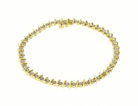 "14K Diamond Inset Wavy Link Tennis Yellow Gold Bracelet 7.25"""