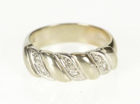 14K Diamond Inset Wavy Wedding Band White Gold Ring, Size 6.25