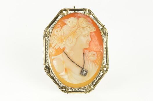 14K Diamond Necklace Cameo Victorian Filigree White Gold Pendant/Pin